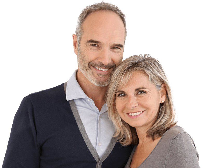 Man and woman with healthy smiles after preventive dentistry